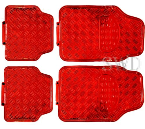 4pc Sporty Racing RED Alloy Look Checker Plate Mat Set Metal Look Check Car Mats