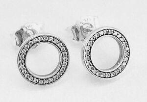 19db13376 Image is loading Genuine-Pandora-Silver-Forever-Pandora-CZ-Stud-Earrings-