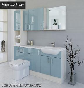 Duck Egg Blue White Avola Bathroom Fitted Furniture
