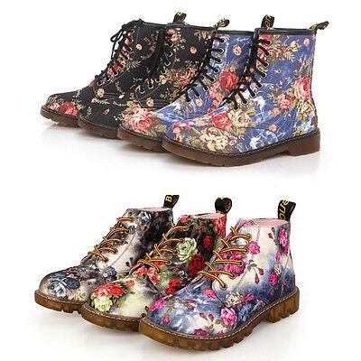 Damen Retro Freizeit Printed Geblümt Damenschuhe Stiefeletten Boots