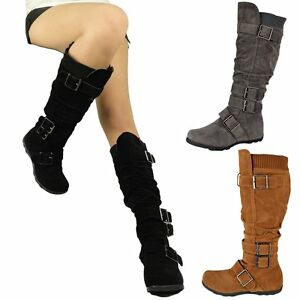 Womens Boots Knee High Mid Calf Military Flat Adjustable Straps ...