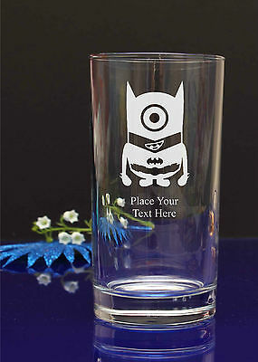 Personalised Engraved Minion HI-BALL MIXER Soft drink Glass Birthday GIFT251