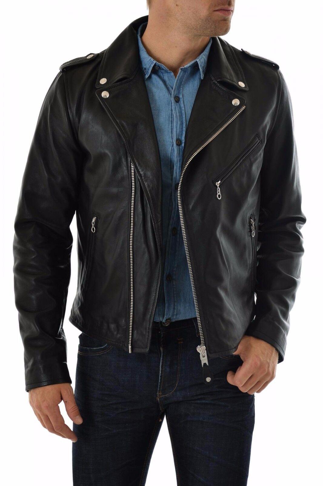 US Veste en cuir Hommes veste cuir Herren Lederjacke Chaqueta Cuero R102c
