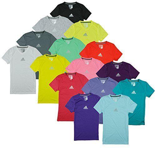 Adidas Youth Girls Climalite Short Sleeve Athletic V-Neck Tee Shirt Many Colors