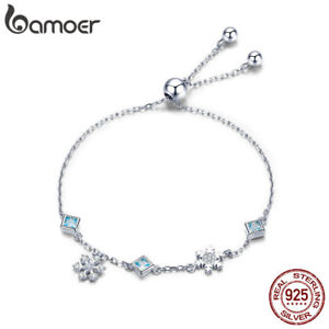 BAMOER-100-Sterling-Silver-Bracelet-Dancing-Snowflake-With-CZ-For-Women-Jewelry