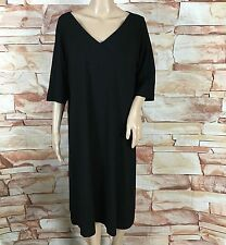 "EILEEN FISHER Sz XL V-Neck Black Rayon Lycra Jersey 3/4""  Sleeve Dress"