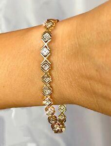a3fe7a6be4676 Details about 14K Yellow Gold 2ctw Diamond Bracelet Mystery Geometric  Rhombus X Kiss Vintage