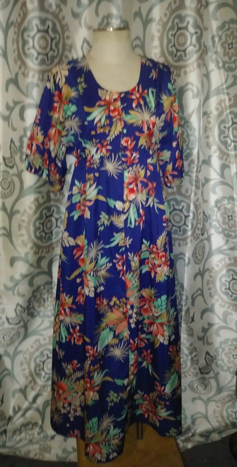 VTG Nani of Hawaii 50'S 60' SZ 10 polyester bluee floral maxi S S hawaiian dress