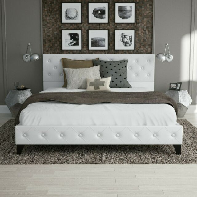 Twin Upholstered Headboard Bed Frame