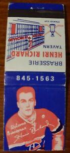 Henri-Richard-vintage-hockey-matchbook-Henri-Richard-Tavern-Montreal-Rare