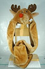"REINDEER HAT SCARF MITTENS ALL IN ONE GANZ~NEW WITH TAGS~34"" LONG~FREE US SHIP~"