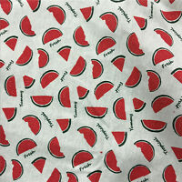 50x150cm Cotton Linen Fabric Zakka DIY Home Deco Print Watermelon Slice 1742B#