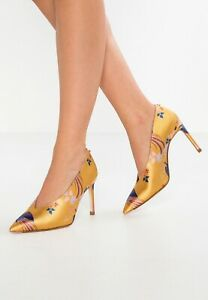TED-BAKER-Size-UK-7-EU-40-Yellow-High-Heel-Court-Shoes-RRP-150-New-In-Box