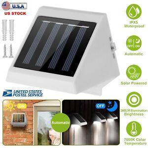 4-LEDs-Luz-Solar-Pared-Escaleras-Valla-Patio-Jardin-Lampara-de-Seguridad-Impermeable-al-aire-libre