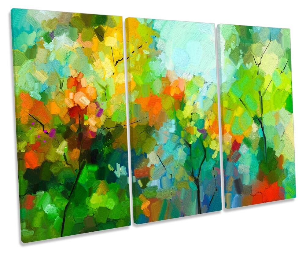 verde Floreale BOCCIOLO FOGLIE TREBLE TELA parete opera d'arte art print