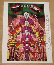 GILBERT & AND GEORGE ~ DEATH 1984 ~ RARE HAND SIGNED ART POSTCARD ~ HIRST EMIN