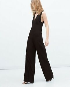 a71bcd98b910 NWT ZARA BLACK HIGH NECK COLLAR LONG JUMPSUIT WIDE LEG PALAZZO ...