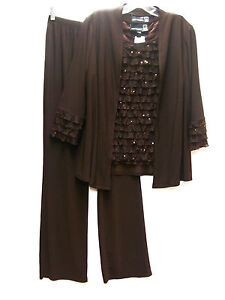 Antthony 3 Piece Rodeo Drive Sparkle Ruffle Pant Set Outfit BROWN Sz XS