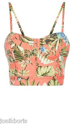 DENIM CO CORAL FLORAL PRINT BUSTIER BRALET CROP TOP 10 12 14 BNWT