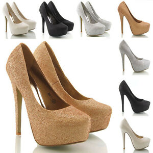 NEW WOMENS HIGH HEELS LADIES STILETTO HEEL CONCEALED PLATFORM ...