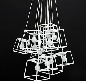 Image is loading Cube-Box-Frame-Modern-Minimalist-Pendant-Light-Ceiling- & Cube Box Frame Modern Minimalist Pendant Light Ceiling Lamp ...