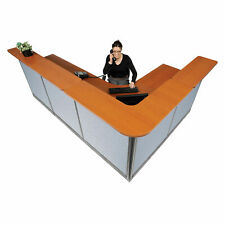 116w X 80d X 46h L Shaped Reception Station With Raceway Cherry Counterblue