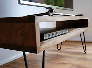 vintage retro box tv stand w metal hairpin legs solid wood rustic unit table ebay. Black Bedroom Furniture Sets. Home Design Ideas