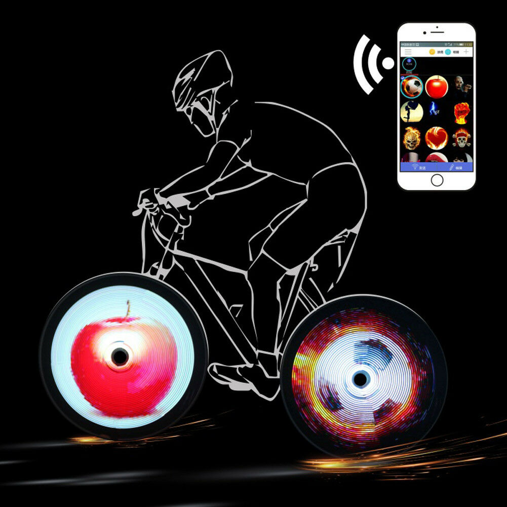 128 LEDs DIY Wheel Display Bicycle Tire Spoke lumière Programmable Flash Pictures