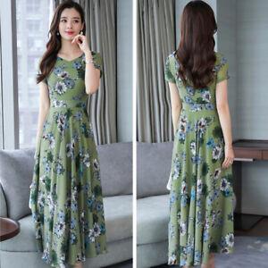 Korean-Women-039-s-Casual-Round-Neck-Short-Sleeve-Floral-Printed-Long-Maxi-Dress