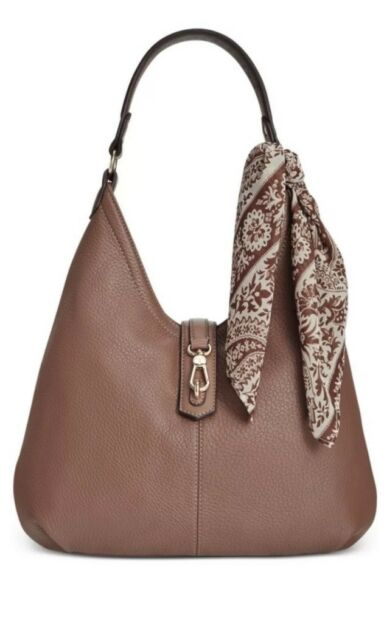 Tignanello Cognac Brown Leather Cargo Hobo Handbag With Scarf