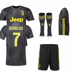 5ab9ba557 Details about 2019 Football Dark Grey Away Kit for 3-14Y Kid Soccer Jersey  Suit+socks Juventus