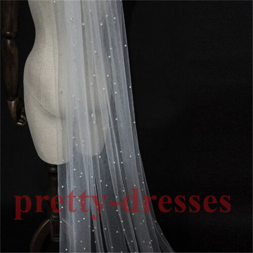 Long Cathedral White Ivory Pearls Tulle Bridal Wedding Veils for Bride with Comb