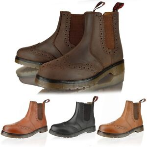 Image is loading MENS-LEATHER-CHELSEA-DEALER-ANKLE-BROGUE-SLIP-PULL-