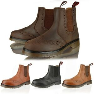 MENS LEATHER CHELSEA DEALER ANKLE BROGUE SLIP PULL ON WORK BOOTS