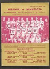 Vitnage 1959 MINNESOTA Golden Gophers v. Missouri College Basketball Program