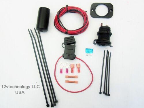 Motorcycle Snowmobile ATV Accessory Plug Socket 12 Volt Wiring Kit