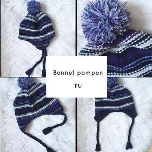 Bonnet pompon rayé tricot
