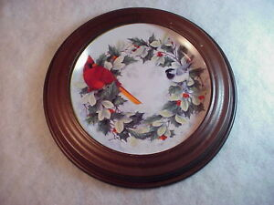Cardinal-Holiday-Chorus-Franklin-Mint-Scratched-Frame-8-034-Collector-Plate-F-2224