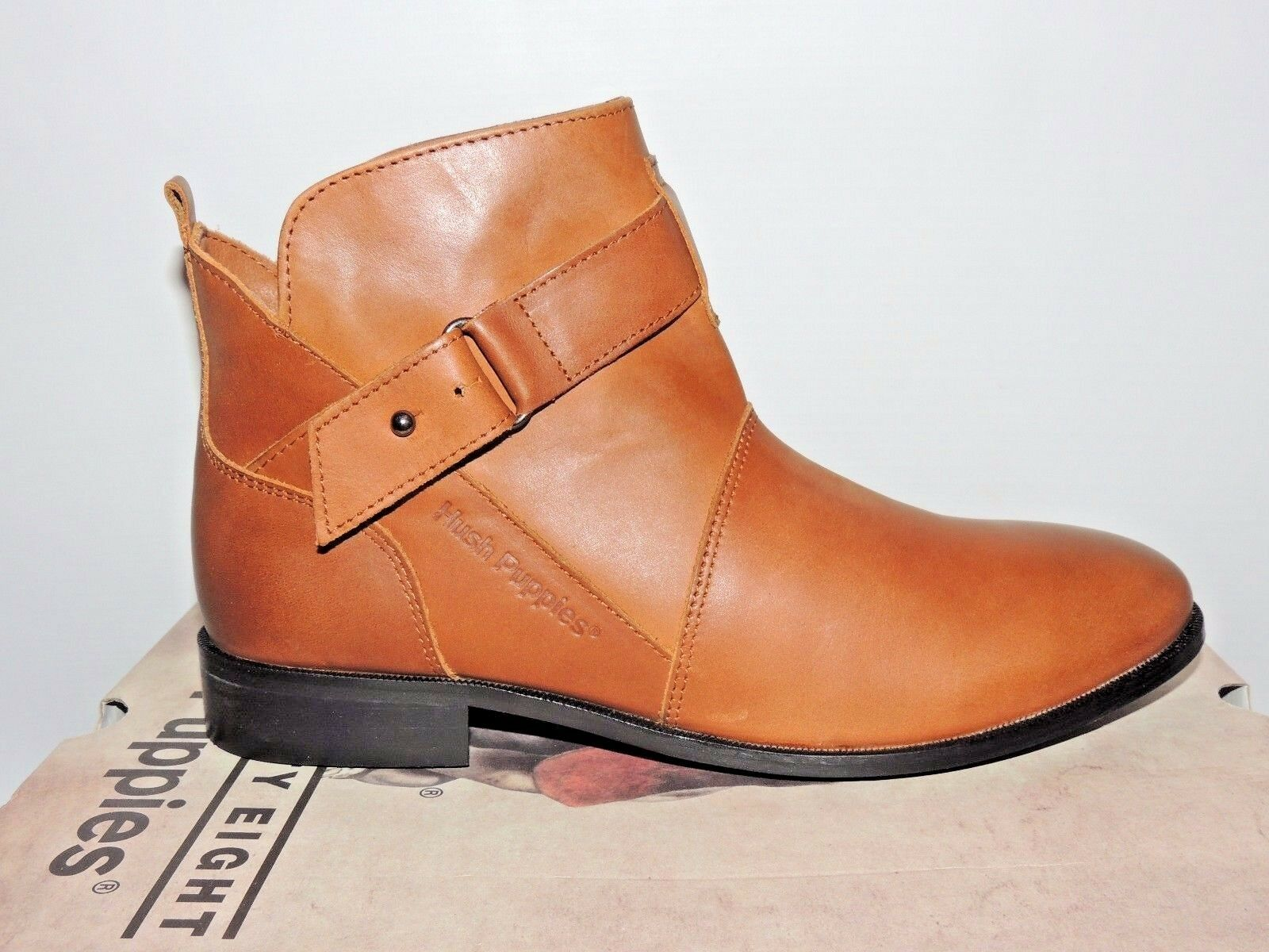 HUSH PUPPIES 'VITA'  TAN LEATHER ZIP UP ANKLE BOOTS. BNIB