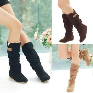 Winter-Damenschuhe-Schlupfstiefel-Stiefeletten-Overknee-Stiefel-Lace-Cuff-Boots