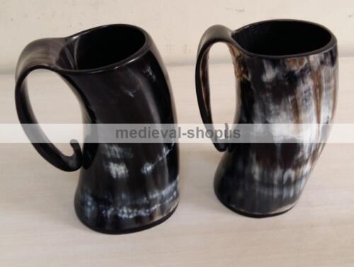 New viking drinking Tankard medieval renaissance Horn beer wine mug Pair