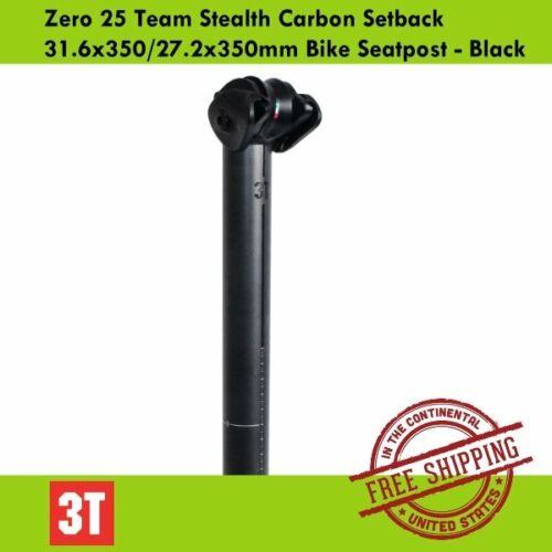 Black 3T Zero 25 Team Stealth Carbon Setback 31.6x350//27.2x350mm Bike Seatpost