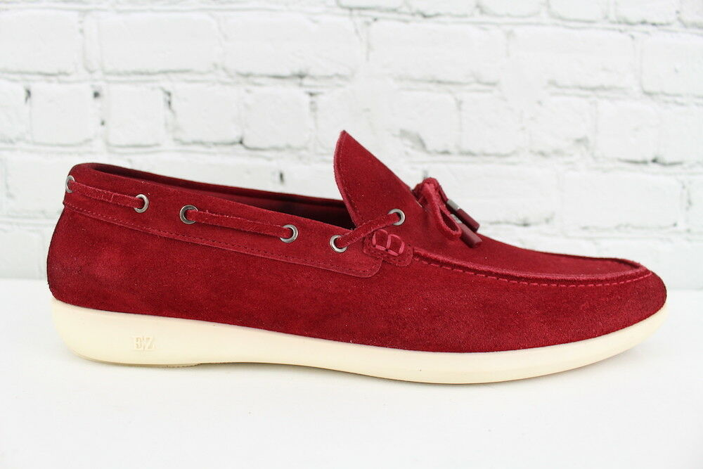 Ermenegildo Zegna Mens Red Suede Slip On Casual Loafers Boat shoes Size 10