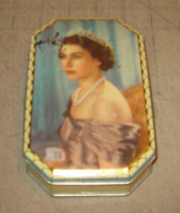 "1960s? QUEEN ELIZABETH II ""ROYAL VISIT"" Harry Vincent Confectionery 6"" UK Tin"