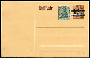 BAVARIA-15-pfg-MINT-POSTCARD-SPLIT-BAR-RE-IMPRINTED-GERMANY-GERMANIA-30-pfg