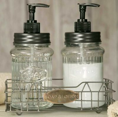 Hoosier Glass Jar With Pump Soap Dispenser W// Black Lid Kitchen Bath