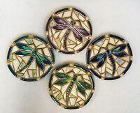 Dragonfly Coasters / Trivet Mosaic Art Handmade Ceramic Stoneware Tile Set Of 4