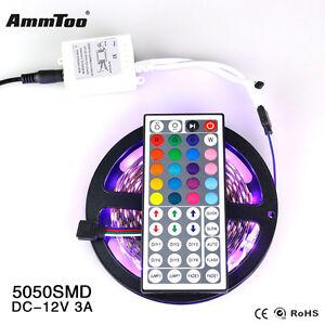 5M-Light-Strip-5050-RGB-300-Led-SMD-Flexible-Lamp-44-key-IR-12V-3A-Power-Supply