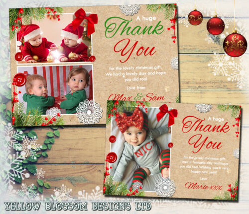 Personalised Christmas Thank You Cards Photo Folded Postcards Boy Girl Children