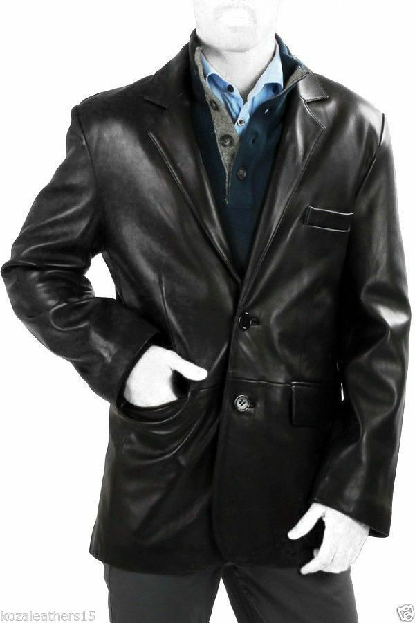Mens Classic 2 or 3 Button Lambskin Leather Blazer